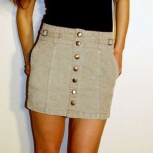 Retro Gap Button Front Corduroy Mini Skirt